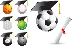 Sports balls graduates Stock Photography