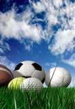 Sports balls on the grass Royalty Free Stock Photo