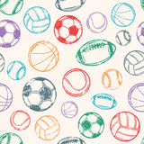 Sports Balls, Grunge Background, Seamless Pattern Royalty Free Stock Photo
