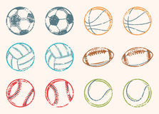 Sports Balls Grunge Icons royalty free illustration