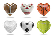 Sports balls hearts. 3D render of heart shaped football, baseball, basketball, golf, soccer and tennis ball Royalty Free Stock Images