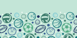 Sports balls horizontal seamless pattern Stock Images