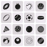 Sports Balls icon set on button background. Collection Of Sports Balls icon set on button background. Elements for company logos, print products, page and web Royalty Free Stock Image
