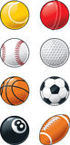 Sports Balls Icon Set. A cartoon icon set showing different types of sports balls stock illustration