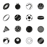 Sports Balls icon set on white background. Collection Of Sports Balls icon set on white background. Elements for company logos, print products, page and web Royalty Free Stock Photos