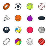Sports Balls icon set on white background. Collection Of Sports Balls icon set on white background. Elements for company logos, print products, page and web Royalty Free Stock Images