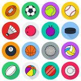 Sports Balls icon set on white background. Collection Of Sports Balls icon set on white background. Elements for company logos, print products, page and web Stock Photo