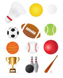 Sports balls. Icons and equipment illustration isolated on white Stock Image