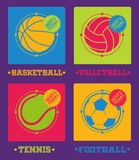 Sports balls icons. Football, basketball, volleyball, tennis. Royalty Free Stock Images