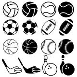 Sports Balls icons. Set Of Black And White Sports Balls icons. Vector Illustration  Silhouettes Stock Photography