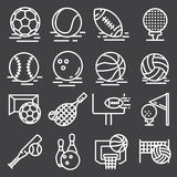 Sports Balls Icons Set on Gray Background. Vector. Illustration Royalty Free Stock Images