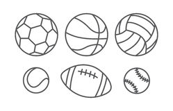 Sports balls in linear style Stock Image