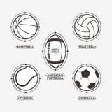 Sports balls logos, emblem. Royalty Free Stock Images
