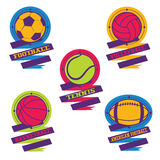 Sports balls logos. Football, volleyball, basketball, american f Royalty Free Stock Photography