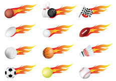 Sports balls of many types on fire with flames Stock Image