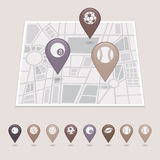 Sports balls mapping pins icons Royalty Free Stock Image