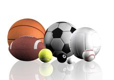 Sports balls over white Royalty Free Stock Photos