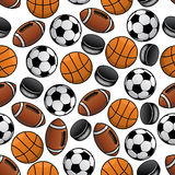 Sports balls and pucks seamless pattern Stock Images