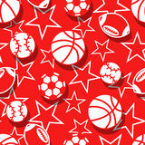 Sports balls in red and white seamless pattern Stock Image