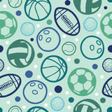 Sports balls seamless patterns backgrounds Stock Images