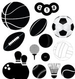 Sports balls set. Detailed illustration of a series of world wide sports Royalty Free Stock Images