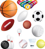 Sports balls set. Deatiled illustration of a series of world wide sports Royalty Free Stock Photos
