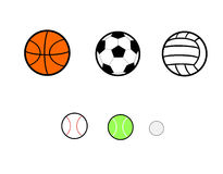 Sports Balls. A set of basketball, soccer, volleyball, tennis , baseball and golf sport balls royalty free illustration