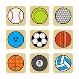 Sports balls. Set of flat color icons Royalty Free Stock Photo