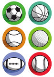 Sports balls. A set of illustrations with various sports balls Stock Images