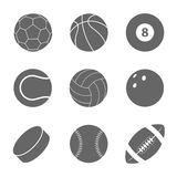 Sports balls set. Silhouettes of balls. stock illustration