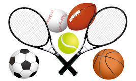 Sports balls and tennis rackets Stock Image