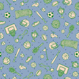 Sports Balls Things Doodle Surface Pattern.  Vector Background. Royalty Free Stock Photo