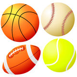 Sports Balls - Vector. Basketball, Baseball, Tennis ball, and Rugby ball - EPS vector also available Royalty Free Stock Photo