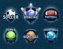 Sports balls vector labels and sport team emblems Stock Photo