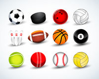 Sports balls vector set. hockey, baseball, cricket, basketball, soccer, tennis, football, baseball, bowling, golf, billiards.