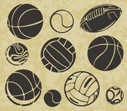 Sports Balls - vector set. Royalty Free Stock Photos