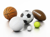 Sports balls  on white background. 3D illustration Stock Photo