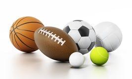 Sports balls  on white background. 3D illustration.  Royalty Free Stock Photos
