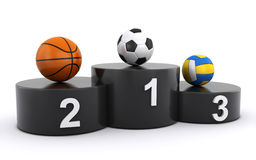 Sports balls on the winners podium Royalty Free Stock Photos