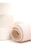 Sports bandage & tape vertical. Picture of a sports bandage & tape vertical royalty free stock images