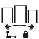 Sports banner with horizontal bars, barbells, dumbbells and weights. Sports  banner with horizontal bars, barbells, dumbbells and weights Royalty Free Stock Photography