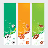 Sports Banners - Soccer, Football & Basketball Royalty Free Stock Photos