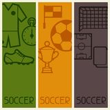 Sports banners with soccer football symbols Royalty Free Stock Photography