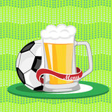 Sports bar menu,poster,banner.Mug of beer and a soccer ball on a Royalty Free Stock Photo
