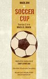 Sports Bar soccer poster. FIFA world cup football template with ball on it. It has text that you can replace with your own data or just delete Stock Photo