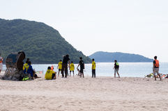 Sports on the beach landscape background Royalty Free Stock Photo