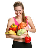 Sports beautiful girl adheres to a healthy diet Stock Photo