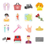 Sports, beauty, shopping and other web icon in cartoon style.Travel, mourning, cleanliness icons in set collection. Stock Images