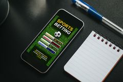 Free Sports Betting App In A Mobile Phone Screen. Stock Images - 136685284