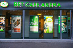 Sports betting. Bet cafe arena, sports betting office in Bucharest, Romania Royalty Free Stock Image